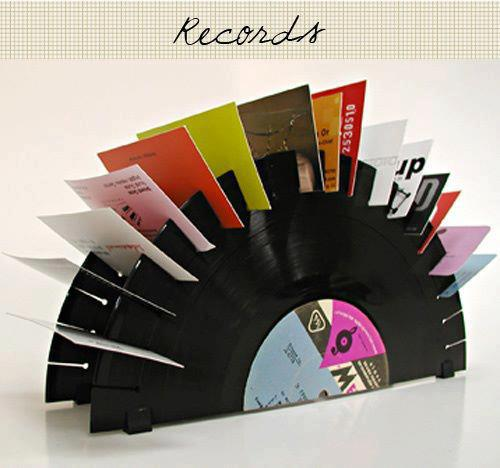 repurpose old vinyl records craft idea