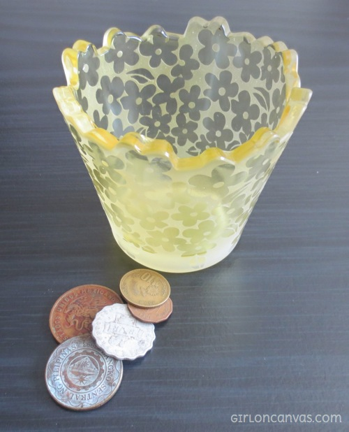 Flower jar and foreign coins
