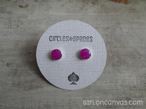Pink versus Purple Sterling Silver Post Earrings