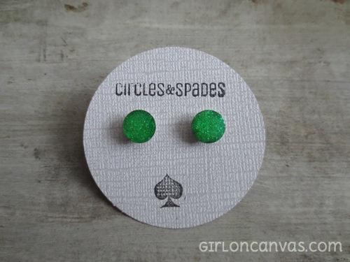 Bright Green Glitter Post Earrings
