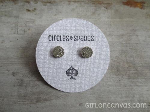 Silver Glass Glitter Post Earring
